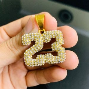 Stainless Steel Jersey #23 Pendant w/ Rope Chain